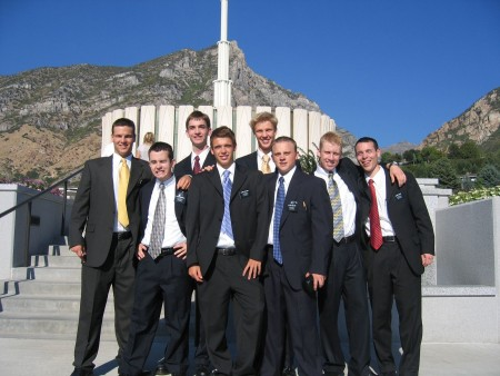 Photo of Elders at the Provo Temple with Jake in the picture