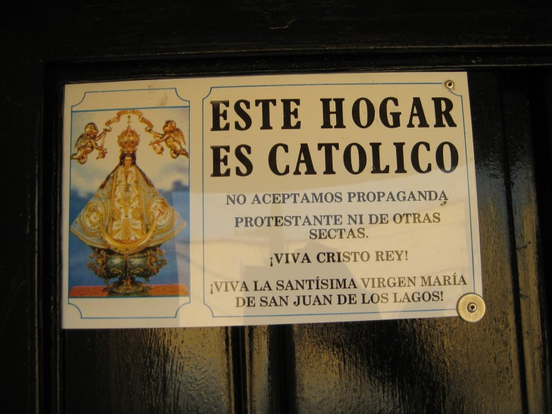 This house is Catholic. We don't accept Protestant propaganda or from other sects