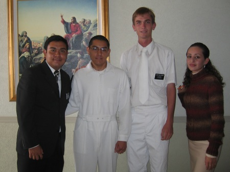 Photo of Elder Willoughby ready to baptize a convert