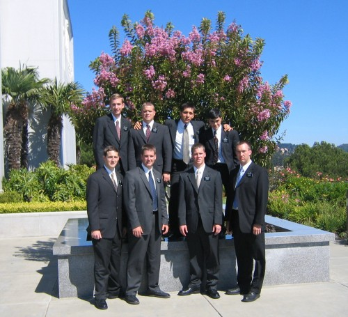 Photo of Paul at the Oakland Temple with seven other new elders