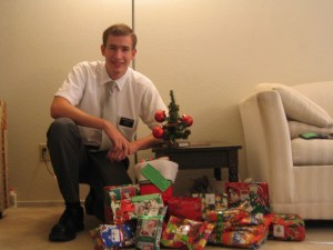 Photo of Paul  with a few Christmas gifts