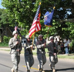 The National Guard carried the flag