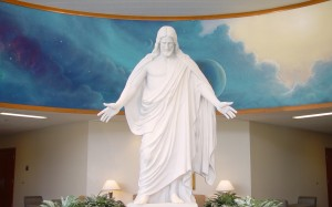 Oakland Temple statue of Jesus Christ