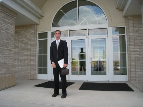 Jake outside the church where he spoke today.