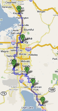 Kaysville to Provo Google Map