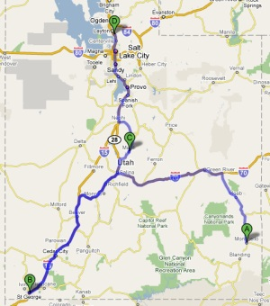 Monticello to kaysville Google Map