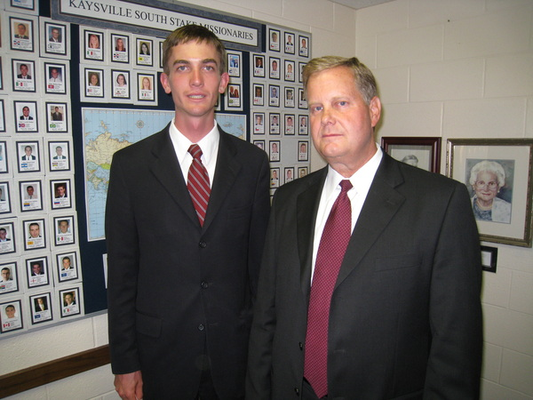 Jake with his Stake President after being released from his mission.