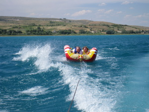 Susan and Kent Ward tubing on Bear Lake