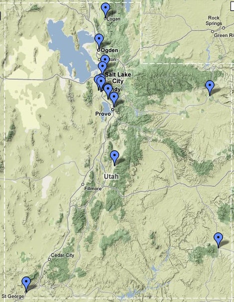 Utah Temples on Google Maps