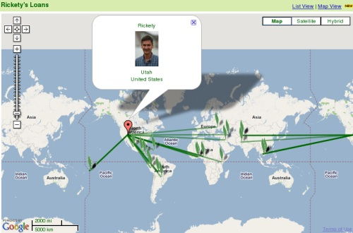 Kiva Map showing Rickety micro finance loans over the globe