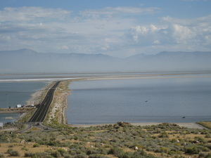 The Davis County Causeway as seen from Antelope Island.