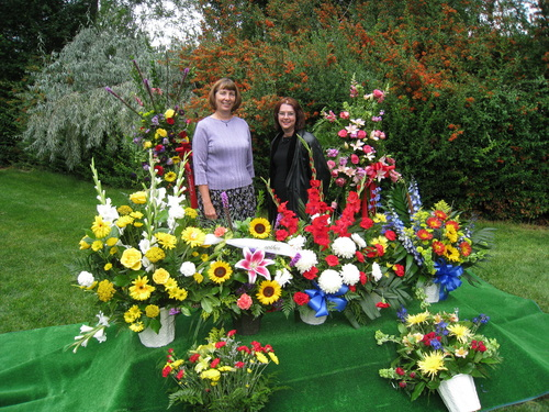 Jill and Susan amongst the flowers.
