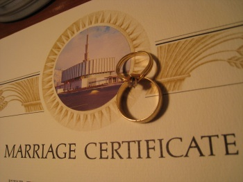 Our rings with our temple marriage certificate.