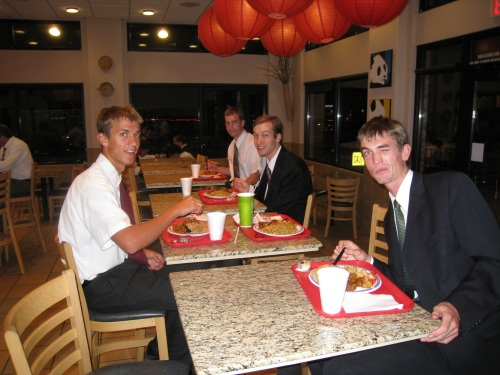 Digging in to our Panda Express meal after General Priesthood Meeting.