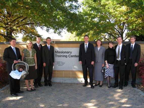 Daniel and the family at the MTC entrance