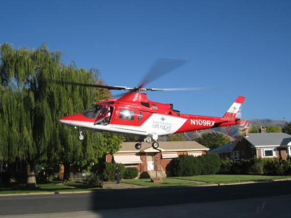Life Flight landing at Kaysville City fire station