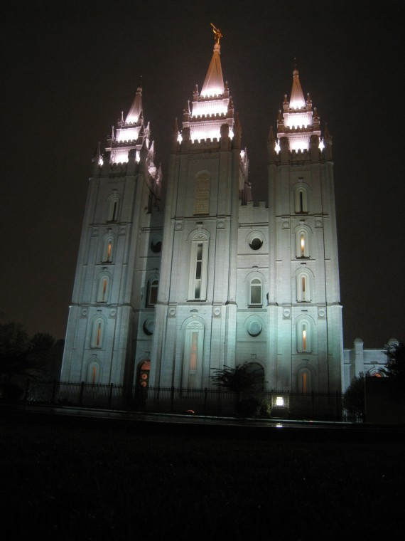 The Salt Lake Temple at night