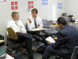 Daniel learning Mongolian (center).
