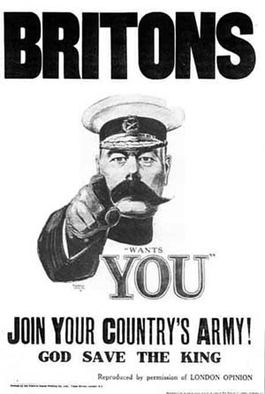 1914 Lord Kitchener Wants You recruitment poster