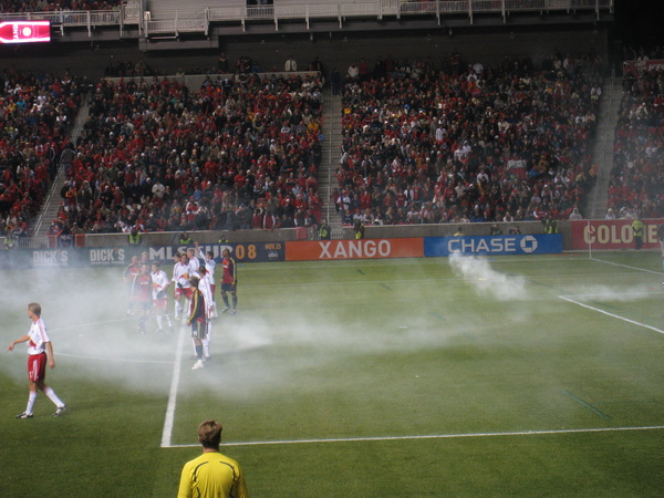 Smoke bomb in the Red Bull goal.