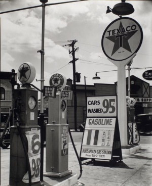 Gasoline station in 1936, Tremont Avenue and Dock Street, Bronx.