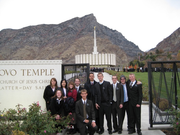 Missionaries at the Provo Temple (Daniel 2nd from left on front row).