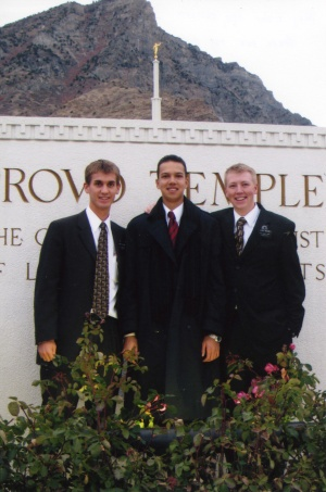 Elders Willoughby, Apo, and Nelson at the Provo temple.