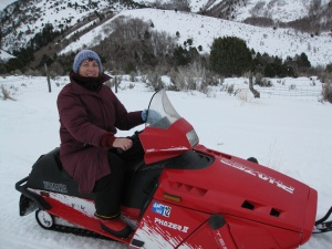 Jill with snowmobile at Mantua.