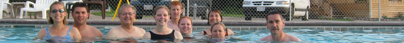 Family swimming in Nephi, Utah