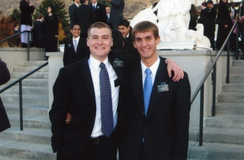 Dan and Elder Van Weezep at the Provo temple.