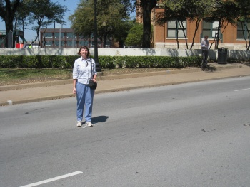 Jill standing on the first X on Elm Street