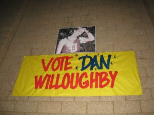 Vote Dan Willoughby poster on a wall of Davis High School