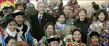 President Bush in Ulaanbaatar, Mongolia in 2005.