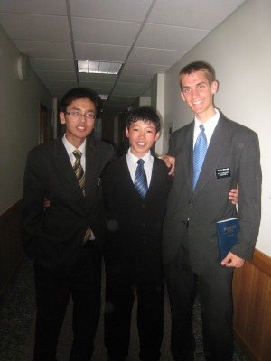 Altangerel, Mongon Od, and Daniel at church
