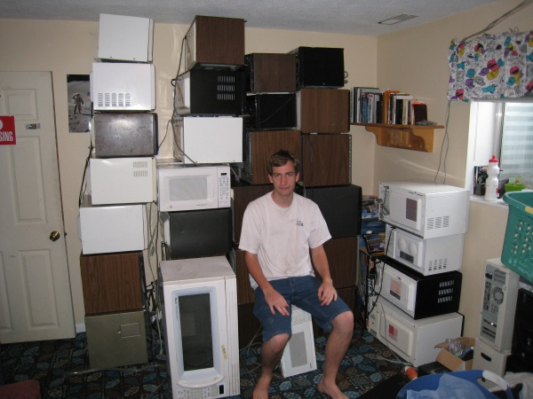 Paul with his microwave ovens
