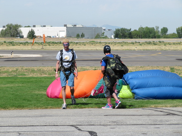 Jake lands from his skydive.