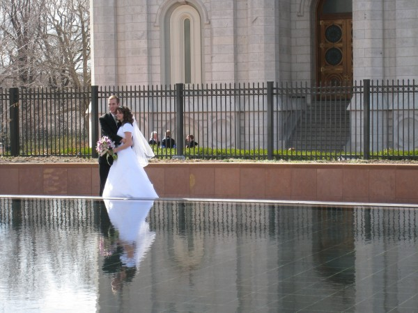Many couples are wed in the temple. Here you see my son Steven with his bride Adelaide posing by the reflective pool