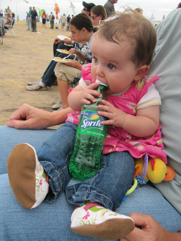 Aurora grabs a Sprite at Antelope Island.