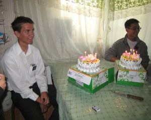 Daniel (left) and Ganbileg celebrating their birthdays