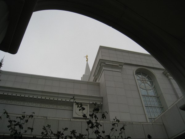 The angel Moroni viewed from the temple porch