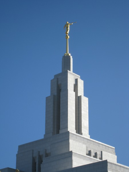 The angel Moroni atop of the Draper temple spire