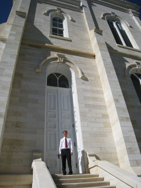 My son Daniel shows how tall the temple doors are