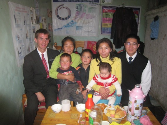 Daniel (left) with a member family