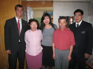 Daniel (second right) with missionaries from his zone in Ulaanbaatar.