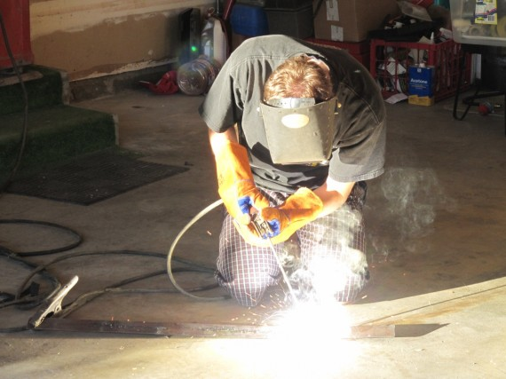 Paul practicing his arc-welding