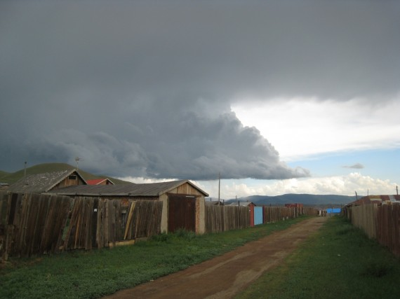 Storm clouds over Ulaanbataar.