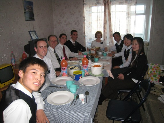 Daniel (fifth left) at a couple missionary's home for Thanksgiving