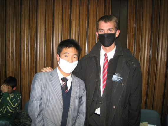 Munkh baatar and Daniel (right) wearing masks to church because of swine flu.