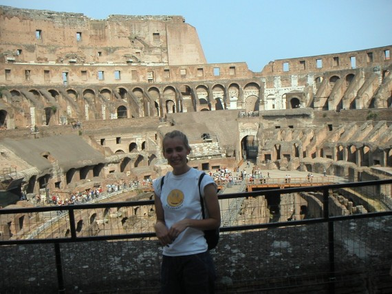 Sarah inside the Colosseum on her European tour.