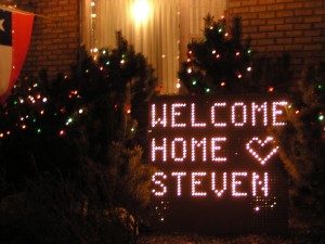 Steven's welcome home sign as he returns from his mission.